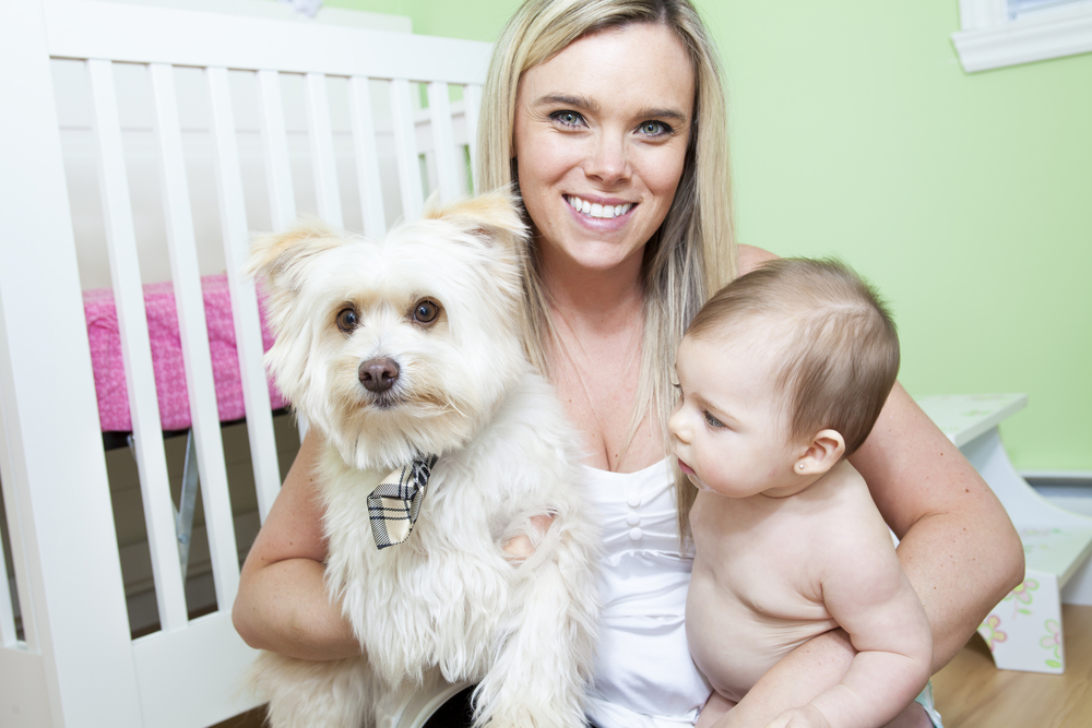Mum, baby and dog