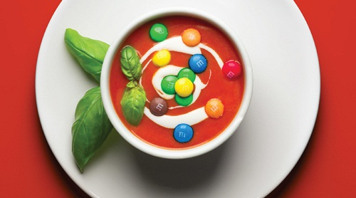 Tomato and M&M soup