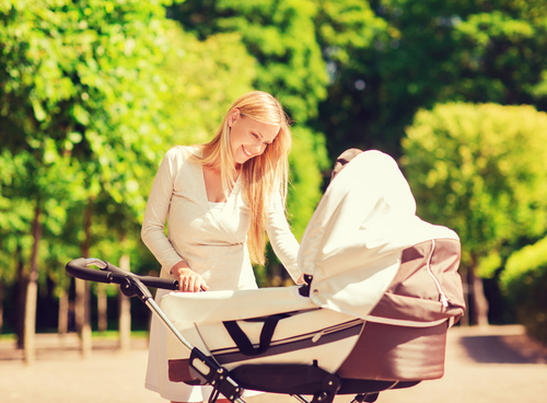 Mother with a pram